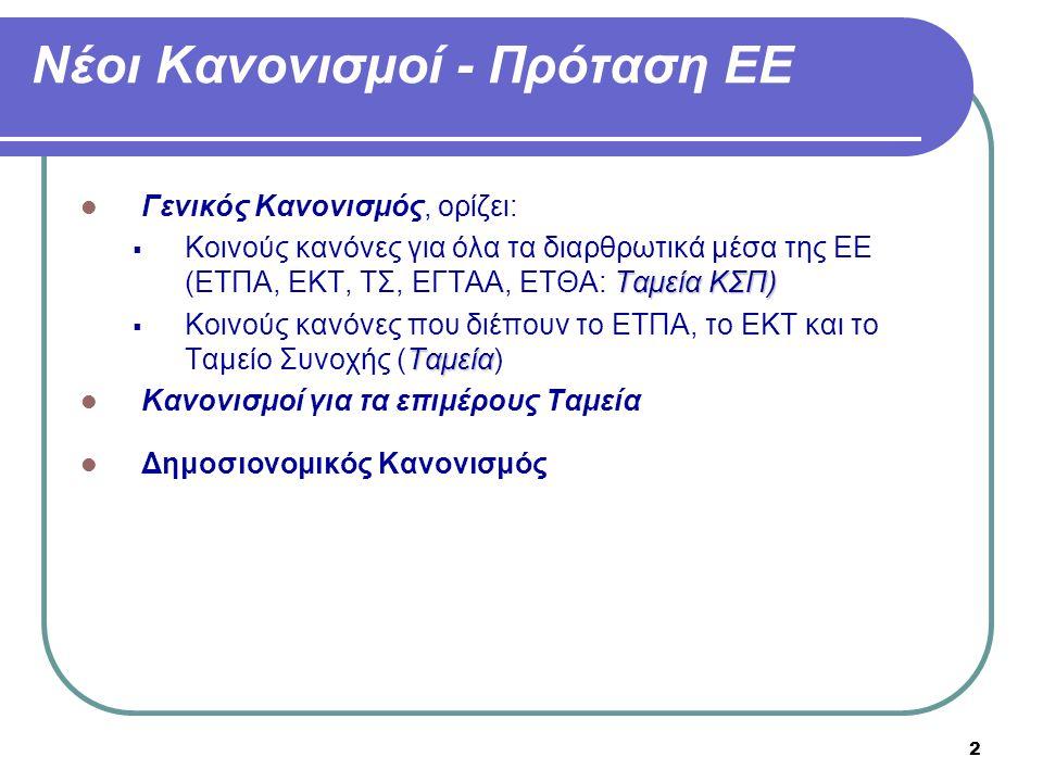 2 Νέοι Κανονισμοί - Πρόταση ΕΕ  Γενικός Κανονισμός, ορίζει: Ταμεία ΚΣΠ)  Κοινούς κανόνες για όλα τα διαρθρωτικά μέσα της ΕΕ (ΕΤΠΑ, ΕΚΤ, ΤΣ, ΕΓΤΑΑ, Ε