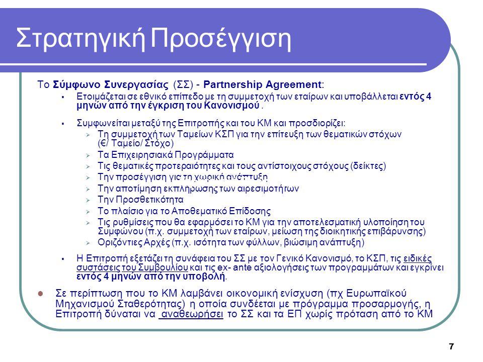 7 Στρατηγική Προσέγγιση Το Σύμφωνο Συνεργασίας (ΣΣ) - Partnership Agreement:  Ετοιμάζεται σε εθνικό επίπεδο με τη συμμετοχή των εταίρων και υποβάλλετ