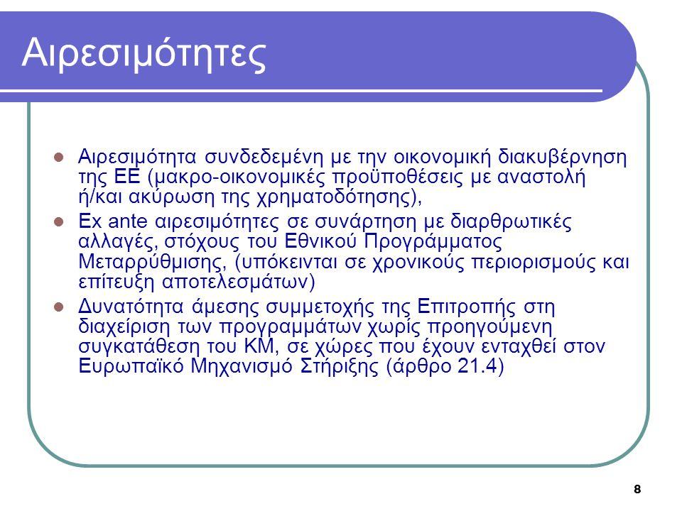 8 Αιρεσιμότητες  Αιρεσιμότητα συνδεδεμένη με την οικονομική διακυβέρνηση της ΕΕ (μακρο-οικονομικές προϋποθέσεις με αναστολή ή/και ακύρωση της χρηματο