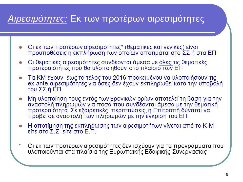 9 Αιρεσιμότητες: Εκ των προτέρων αιρεσιμότητες  Οι εκ των προτέρων αιρεσιμότητες* (θεματικές και γενικές) είναι προϋποθέσεις η εκπλήρωση των οποίων α