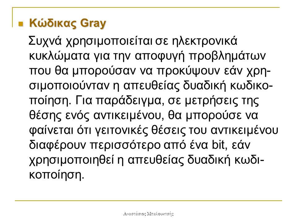 Αναστάσιος Μπαλουκτσής  Κώδικας Gray Συχνά χρησιμοποιείται σε ηλεκτρονικά κυκλώματα για την αποφυγή προβλημάτων που θα μπορούσαν να προκύψουν εάν χρη