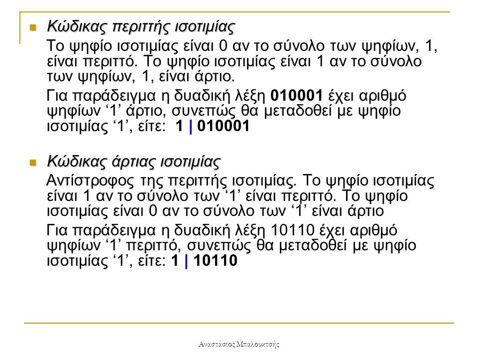 Αναστάσιος Μπαλουκτσής  Κώδικας περιττής ισοτιμίας Το ψηφίο ισοτιμίας είναι 0 αν το σύνολο των ψηφίων, 1, είναι περιττό. Το ψηφίο ισοτιμίας είναι 1 α