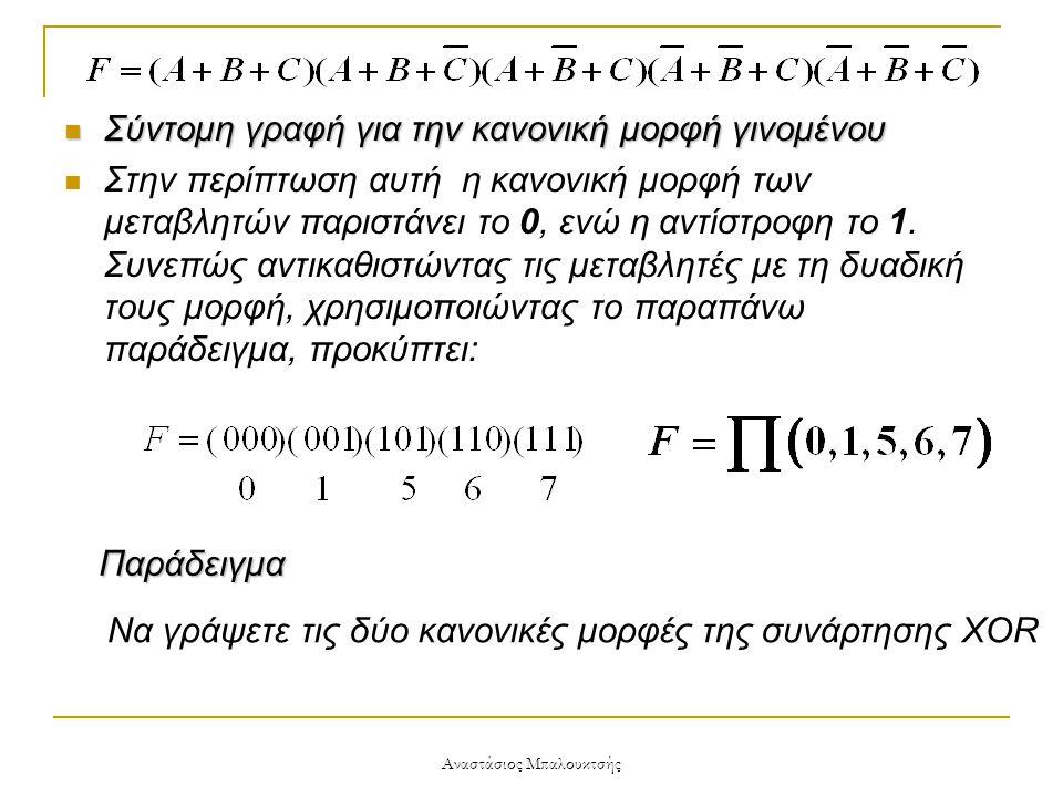 Αναστάσιος Μπαλουκτσής  Σύντομη γραφή για την κανονική μορφή γινομένου  Στην περίπτωση αυτή η κανονική μορφή των μεταβλητών παριστάνει το 0, ενώ η α