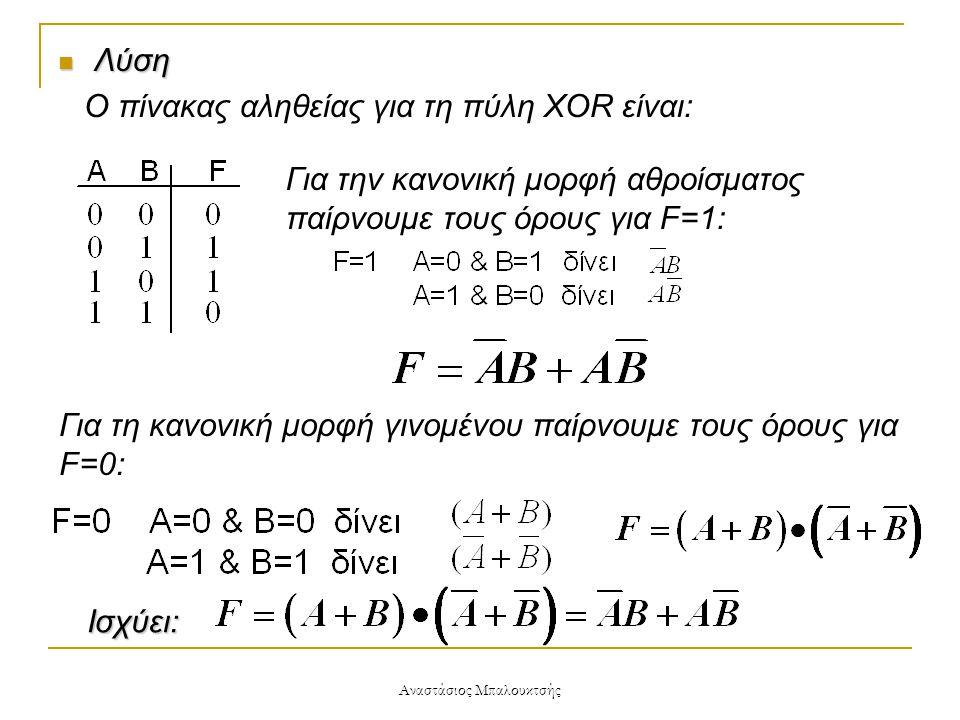 Αναστάσιος Μπαλουκτσής  Λύση Ο πίνακας αληθείας για τη πύλη XOR είναι: Για την κανονική μορφή αθροίσματος παίρνουμε τους όρους για F=1: Για τη κανονι