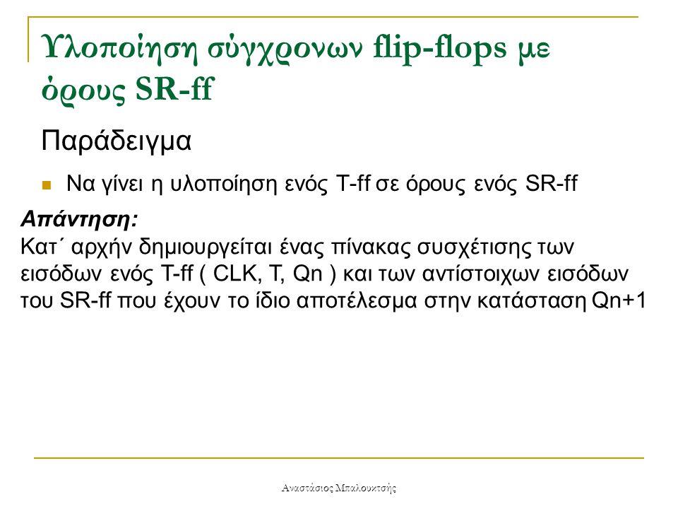 Υλοποίηση σύγχρονων flip-flops με όρους SR-ff Παράδειγμα  Να γίνει η υλοποίηση ενός T-ff σε όρους ενός SR-ff Απάντηση: Κατ΄ αρχήν δημιουργείται ένας