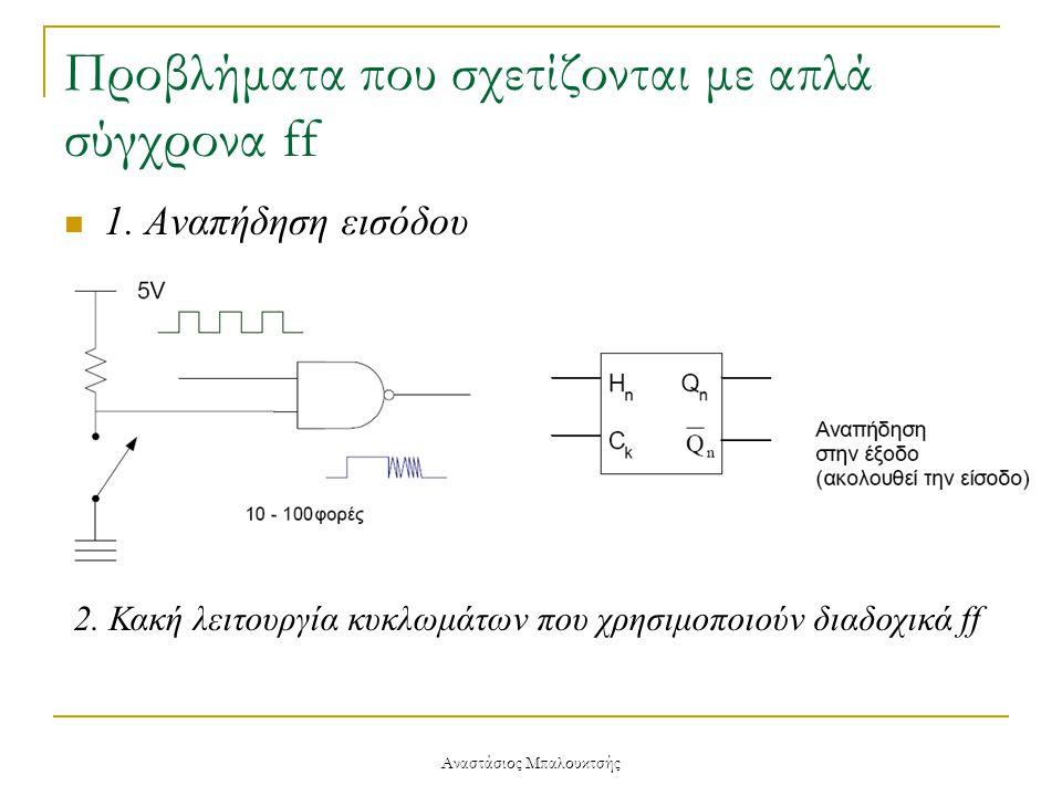 Αναστάσιος Μπαλουκτσής Προβλήματα που σχετίζονται με απλά σύγχρονα ff  1. Αναπήδηση εισόδου 2. Κακή λειτουργία κυκλωμάτων που χρησιμοποιούν διαδοχικά