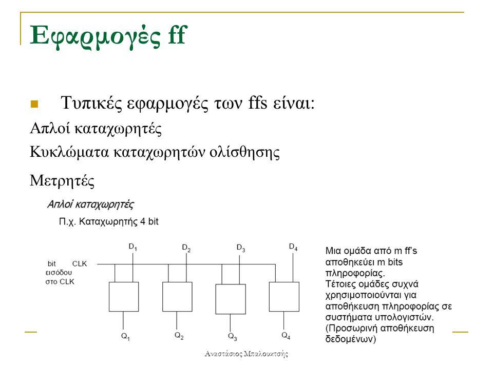 Εφαρμογές ff  Τυπικές εφαρμογές των ffs είναι: Απλοί καταχωρητές Κυκλώματα καταχωρητών ολίσθησης Μετρητές