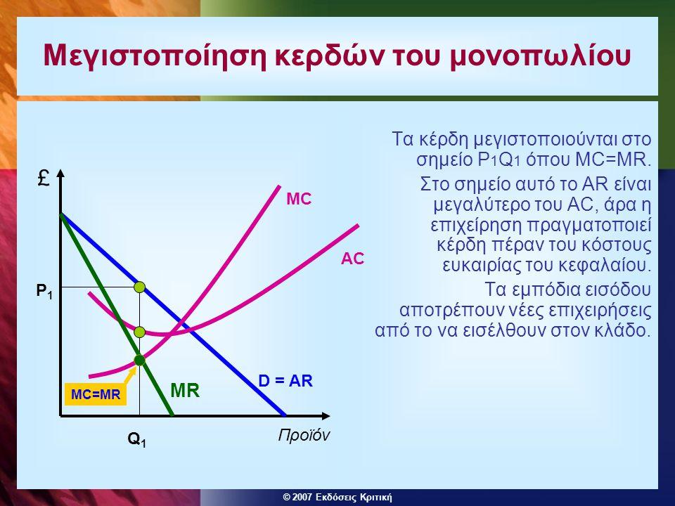 © 2007 Εκδόσεις Κριτική Μεγιστοποίηση κερδών του μονοπωλίου Τα κέρδη μεγιστοποιούνται στο σημείο P 1 Q 1 όπου MC=MR. Στο σημείο αυτό το AR είναι μεγαλ
