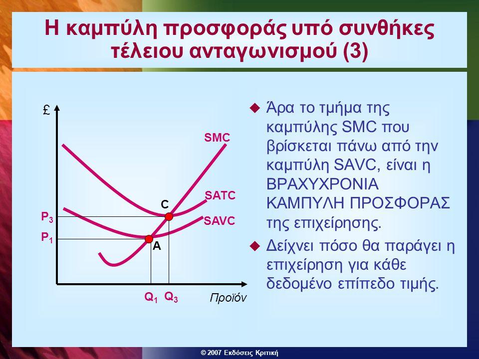 © 2007 Εκδόσεις Κριτική Η επιχείρηση και ο κλάδος στη βραχυχρόνια περίοδο υπό συνθήκες τέλειου ανταγωνισμού (1) Επιχείρηση Κλάδος SAC P £ Προϊόν SMC D=MR=AR q Προϊόν £ Q P SRSS D