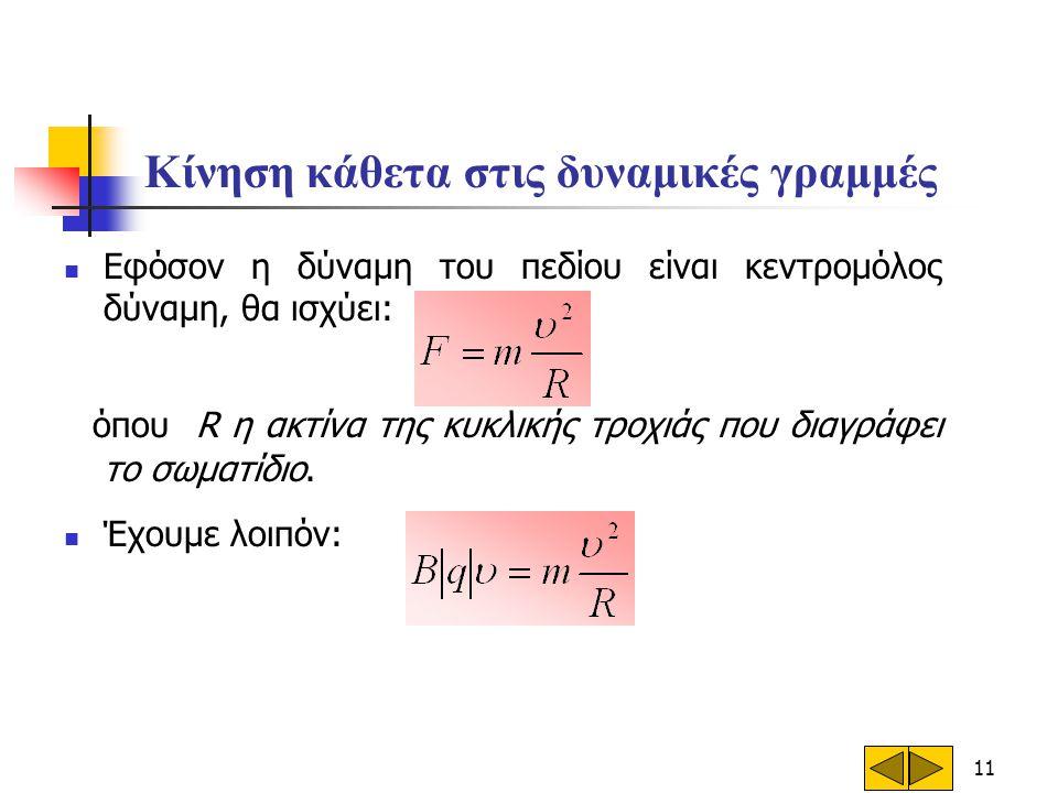 11 Κίνηση κάθετα στις δυναμικές γραμμές  Εφόσον η δύναμη του πεδίου είναι κεντρομόλος δύναμη, θα ισχύει: όπου R η ακτίνα της κυκλικής τροχιάς που δια