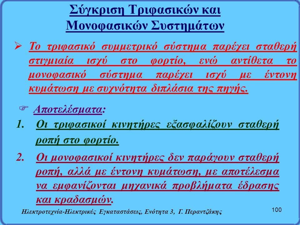 Σύγκριση Τριφασικών και Μονοφασικών Συστημάτων Ηλεκτροτεχνία-Ηλεκτρικές Εγκαταστάσεις, Ενότητα 3, Γ. Περαντζάκης 100  Το τριφασικό συμμετρικό σύστημα
