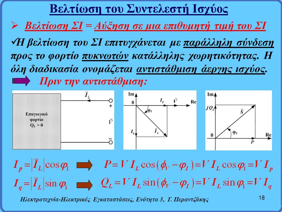 Βελτίωση του Συντελεστή Ισχύος Ηλεκτροτεχνία-Ηλεκτρικές Εγκαταστάσεις, Ενότητα 3, Γ. Περαντζάκης 18  Βελτίωση ΣΙ = Αύξηση σε μια επιθυμητή τιμή του Σ