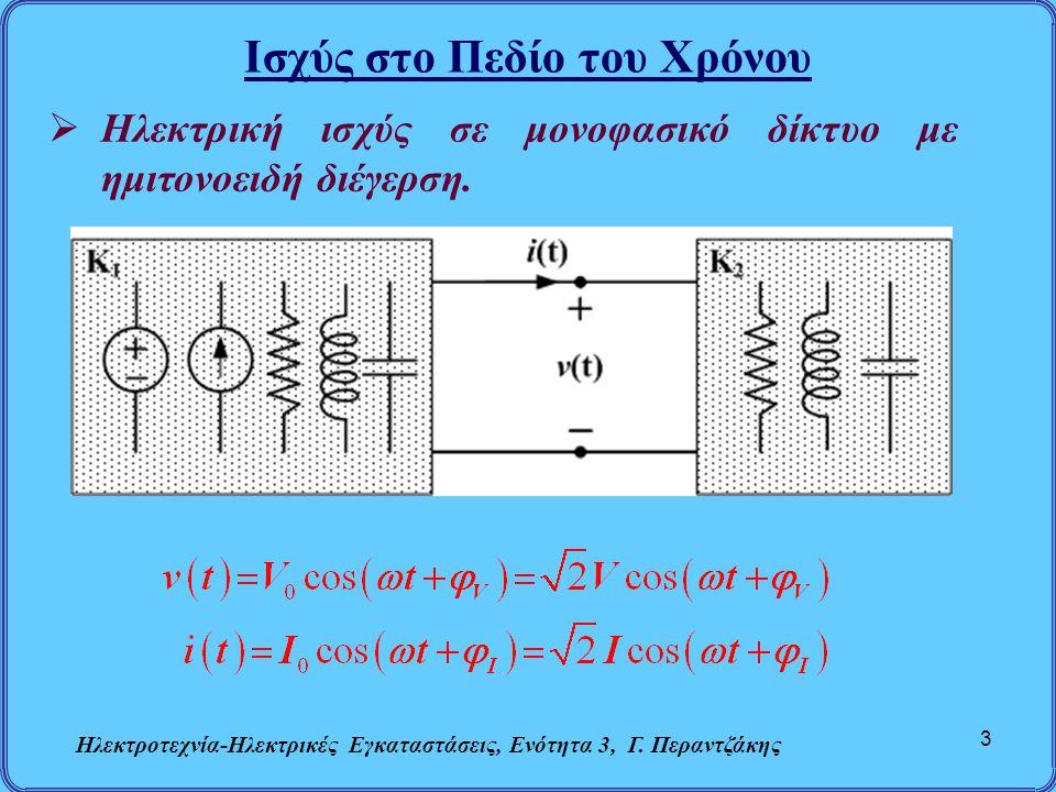 Ισχύς στο Πεδίο του Χρόνου Ηλεκτροτεχνία-Ηλεκτρικές Εγκαταστάσεις, Ενότητα 3, Γ. Περαντζάκης 3  Ηλεκτρική ισχύς σε μονοφασικό δίκτυο με ημιτονοειδή δ