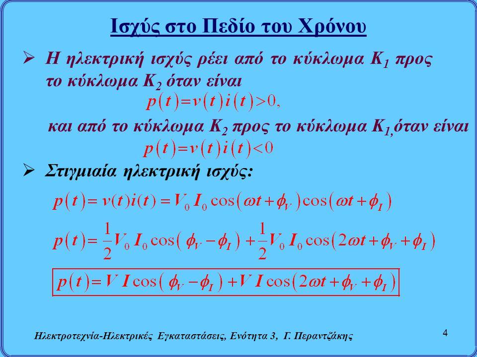 Ισχύς στο Πεδίο του Χρόνου Ηλεκτροτεχνία-Ηλεκτρικές Εγκαταστάσεις, Ενότητα 3, Γ. Περαντζάκης 4  Η ηλεκτρική ισχύς ρέει από το κύκλωμα Κ 1 προς το κύκ