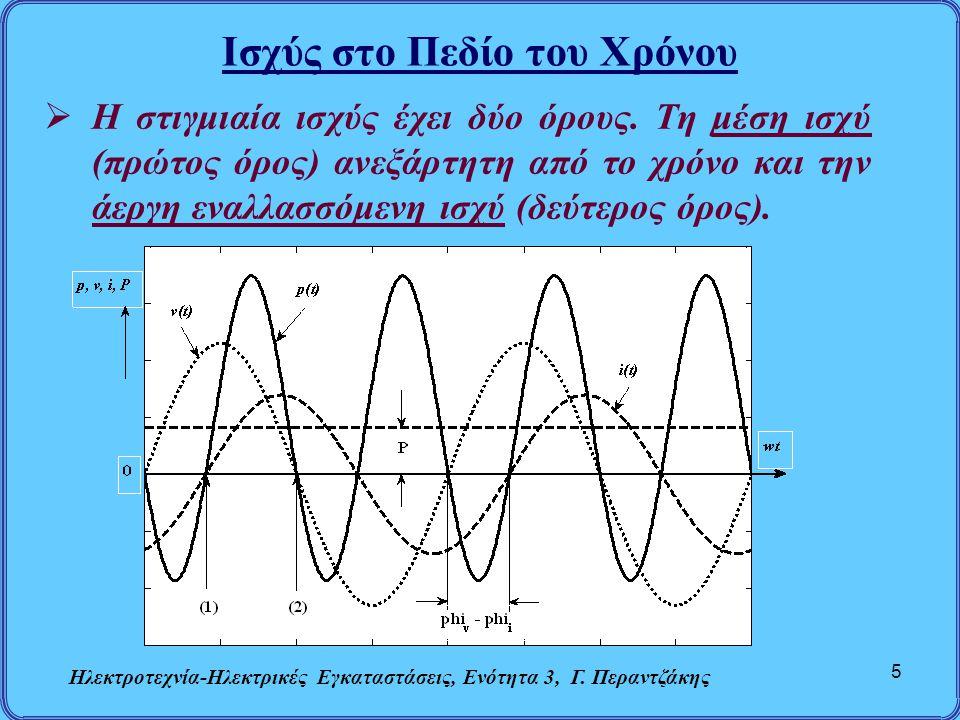 Ισχύς στο Πεδίο του Χρόνου Ηλεκτροτεχνία-Ηλεκτρικές Εγκαταστάσεις, Ενότητα 3, Γ. Περαντζάκης 5  Η στιγμιαία ισχύς έχει δύο όρους. Τη μέση ισχύ (πρώτο