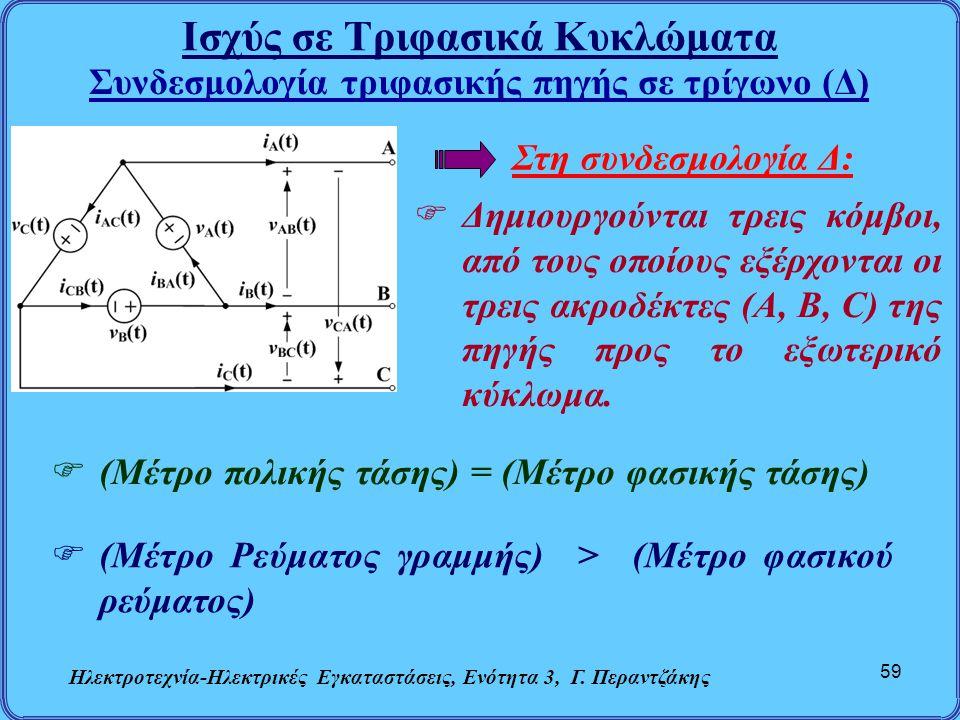 Ισχύς σε Τριφασικά Κυκλώματα Ηλεκτροτεχνία-Ηλεκτρικές Εγκαταστάσεις, Ενότητα 3, Γ. Περαντζάκης 59 Συνδεσμολογία τριφασικής πηγής σε τρίγωνο (Δ)  (Μέτ
