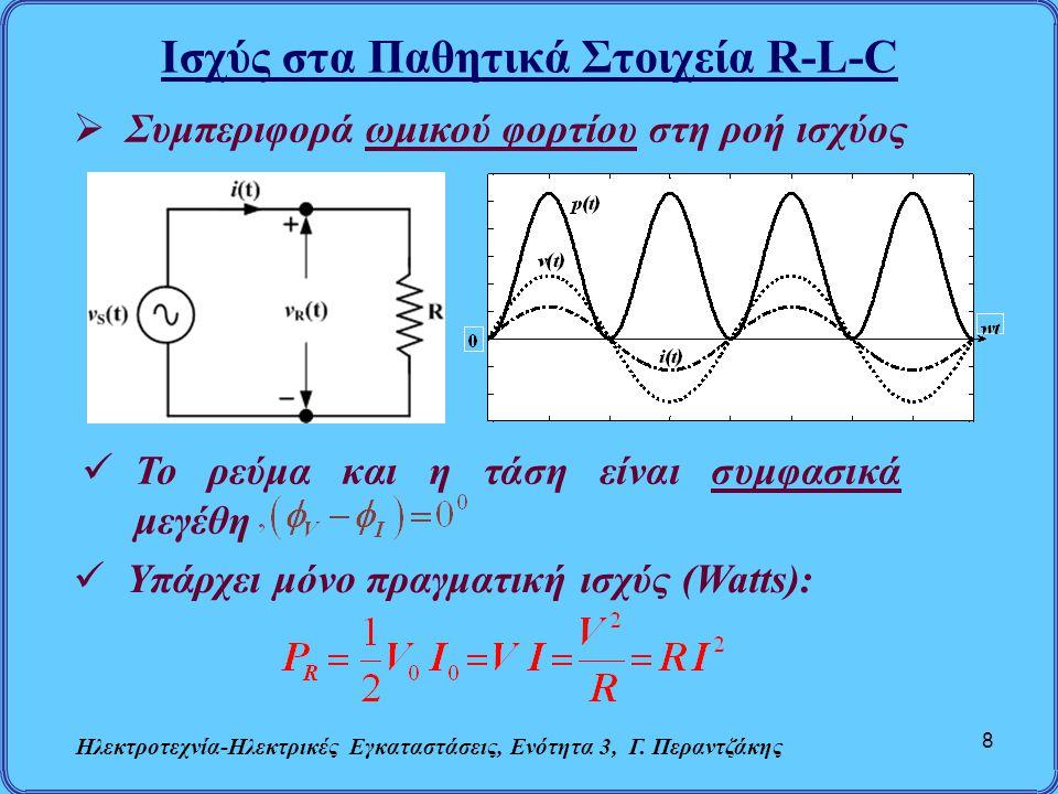 Ισχύς στα Παθητικά Στοιχεία R-L-C Ηλεκτροτεχνία-Ηλεκτρικές Εγκαταστάσεις, Ενότητα 3, Γ. Περαντζάκης 8  Συμπεριφορά ωμικού φορτίου στη ροή ισχύος  Το