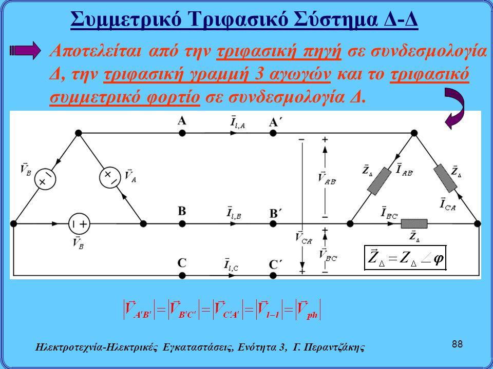 Συμμετρικό Τριφασικό Σύστημα Δ-Δ Ηλεκτροτεχνία-Ηλεκτρικές Εγκαταστάσεις, Ενότητα 3, Γ. Περαντζάκης 88 Αποτελείται από την τριφασική πηγή σε συνδεσμολο