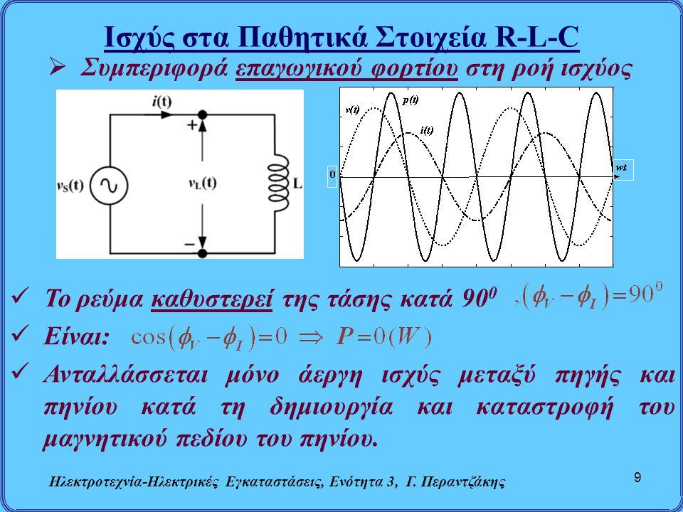 Ισχύς στα Παθητικά Στοιχεία R-L-C Ηλεκτροτεχνία-Ηλεκτρικές Εγκαταστάσεις, Ενότητα 3, Γ. Περαντζάκης 9  Συμπεριφορά επαγωγικού φορτίου στη ροή ισχύος