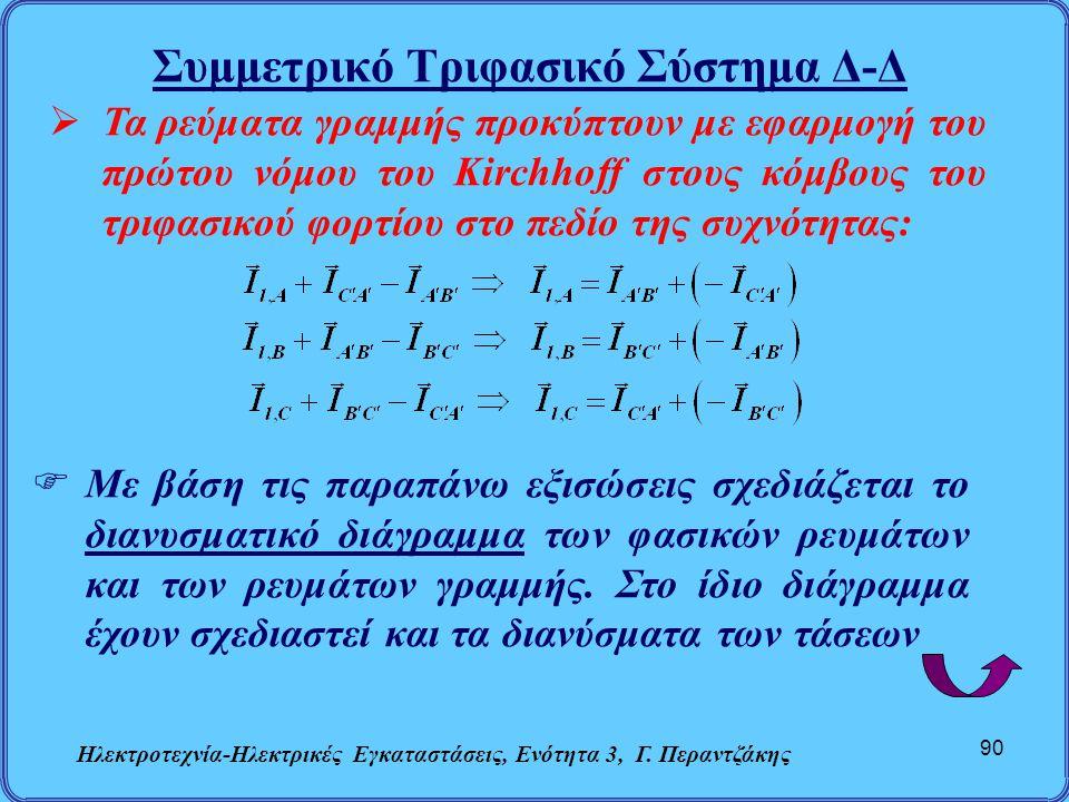 Συμμετρικό Τριφασικό Σύστημα Δ-Δ Ηλεκτροτεχνία-Ηλεκτρικές Εγκαταστάσεις, Ενότητα 3, Γ. Περαντζάκης 90  Τα ρεύματα γραμμής προκύπτουν με εφαρμογή του