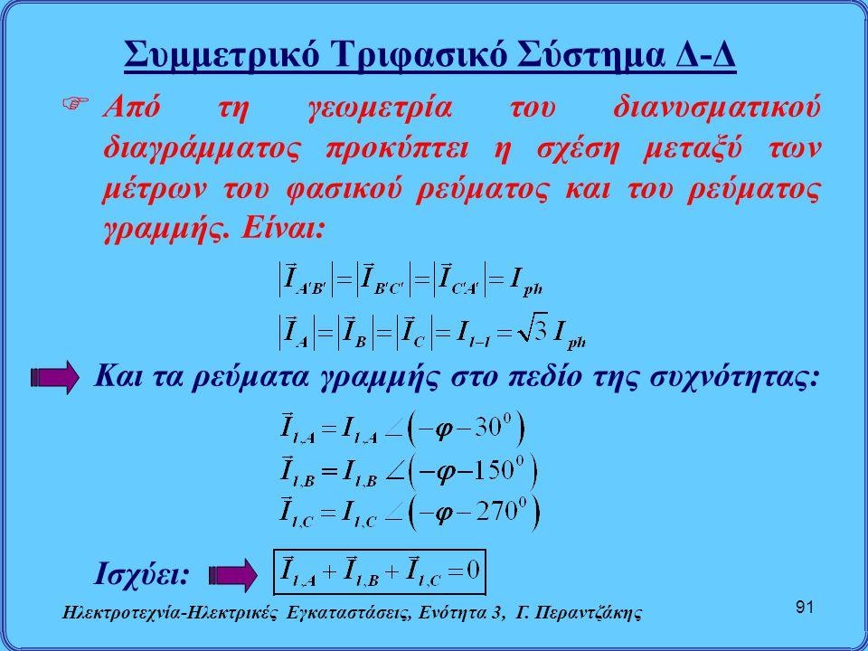Συμμετρικό Τριφασικό Σύστημα Δ-Δ Ηλεκτροτεχνία-Ηλεκτρικές Εγκαταστάσεις, Ενότητα 3, Γ. Περαντζάκης 91  Από τη γεωμετρία του διανυσματικού διαγράμματο