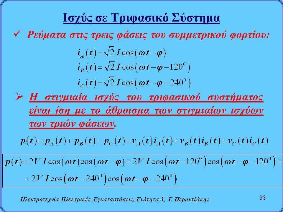 Ισχύς σε Τριφασικό Σύστημα Ηλεκτροτεχνία-Ηλεκτρικές Εγκαταστάσεις, Ενότητα 3, Γ. Περαντζάκης 93  Ρεύματα στις τρεις φάσεις του συμμετρικού φορτίου: 