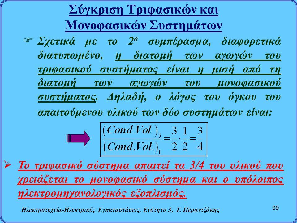 Σύγκριση Τριφασικών και Μονοφασικών Συστημάτων Ηλεκτροτεχνία-Ηλεκτρικές Εγκαταστάσεις, Ενότητα 3, Γ. Περαντζάκης 99  Σχετικά με το 2 ο συμπέρασμα, δι