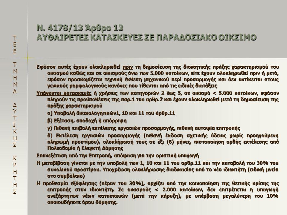 Ν. 4178/13 Άρθρο 13 ΑΥΘΑΙΡΕΤΕΣ ΚΑΤΑΣΚΕΥΕΣ ΣΕ ΠΑΡΑΔΟΣΙΑΚΟ ΟΙΚΣΙΜΟ Εφόσον αυτές έχουν ολοκληρωθεί πριν τη δημοσίευση της διοικητικής πράξης χαρακτηρισμο