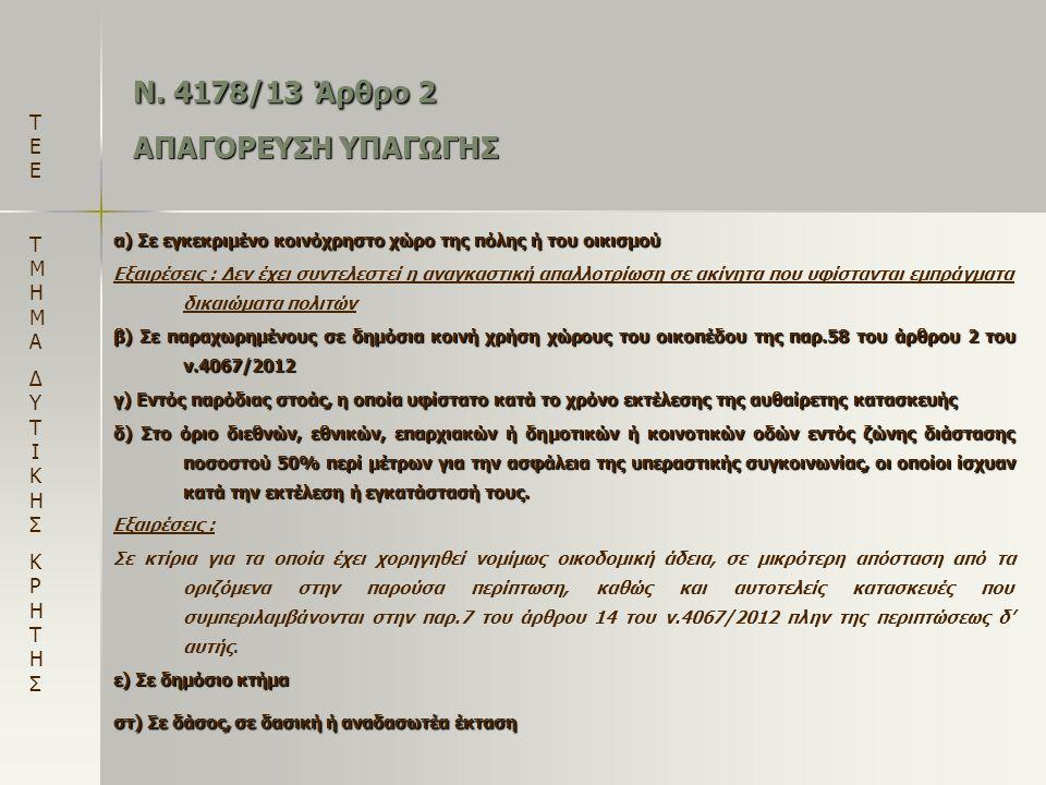 Ν. 4178/13 Άρθρο 2 ΑΠΑΓΟΡΕΥΣΗ ΥΠΑΓΩΓΗΣ α) Σε εγκεκριμένο κοινόχρηστο χώρο της πόλης ή του οικισμού Εξαιρέσεις : Δεν έχει συντελεστεί η αναγκαστική απα