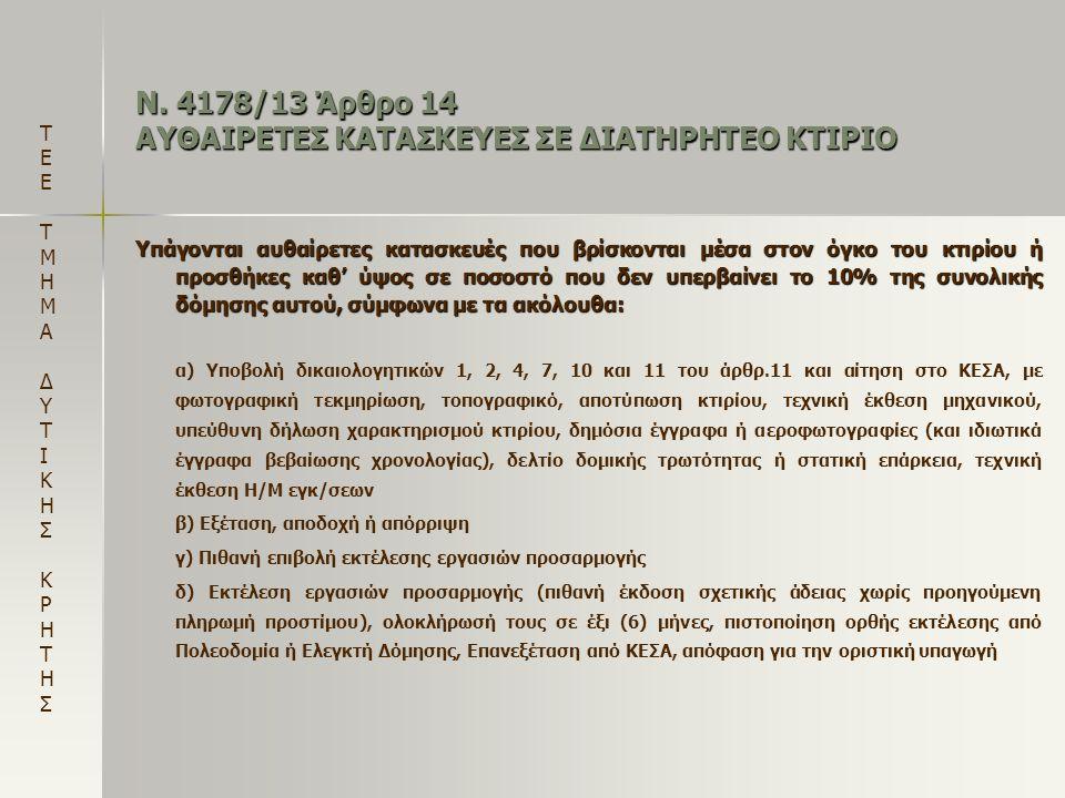 Ν. 4178/13 Άρθρο 14 ΑΥΘΑΙΡΕΤΕΣ ΚΑΤΑΣΚΕΥΕΣ ΣΕ ΔΙΑΤΗΡΗΤΕΟ ΚΤΙΡΙΟ Υπάγονται αυθαίρετες κατασκευές που βρίσκονται μέσα στον όγκο του κτιρίου ή προσθήκες κ