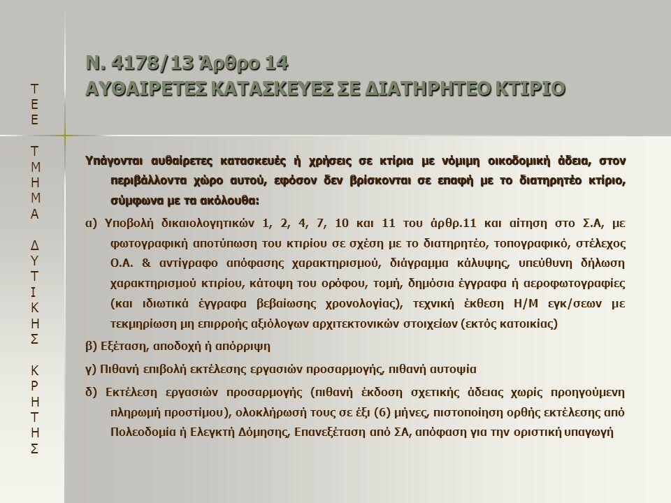 Ν. 4178/13 Άρθρο 14 ΑΥΘΑΙΡΕΤΕΣ ΚΑΤΑΣΚΕΥΕΣ ΣΕ ΔΙΑΤΗΡΗΤΕΟ ΚΤΙΡΙΟ Υπάγονται αυθαίρετες κατασκευές ή χρήσεις σε κτίρια με νόμιμη οικοδομική άδεια, στον πε