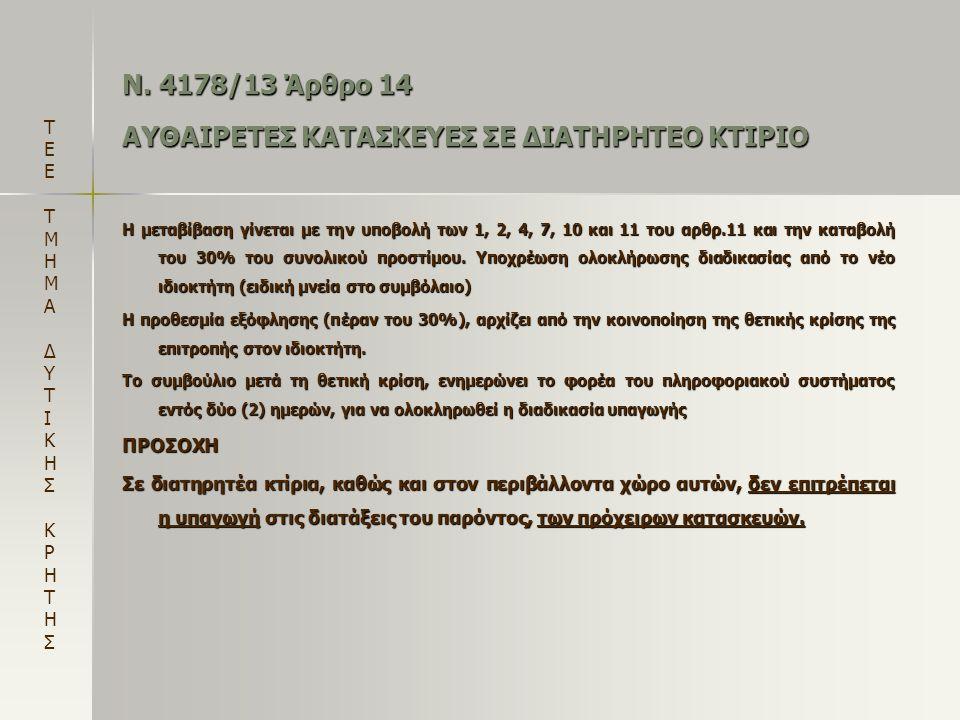 Ν. 4178/13 Άρθρο 14 ΑΥΘΑΙΡΕΤΕΣ ΚΑΤΑΣΚΕΥΕΣ ΣΕ ΔΙΑΤΗΡΗΤΕΟ ΚΤΙΡΙΟ Η μεταβίβαση γίνεται με την υποβολή των 1, 2, 4, 7, 10 και 11 του αρθρ.11 και την καταβ