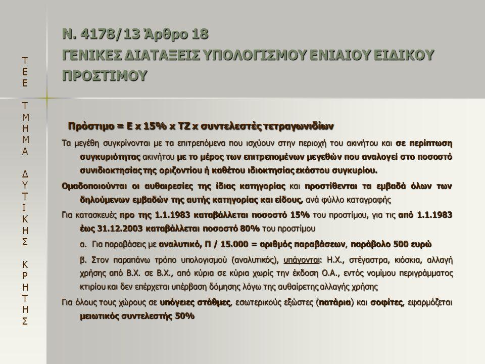 Ν. 4178/13 Άρθρο 18 ΓΕΝΙΚΕΣ ΔΙΑΤΑΞΕΙΣ ΥΠΟΛΟΓΙΣΜΟΥ ΕΝΙΑΙΟΥ ΕΙΔΙΚΟΥ ΠΡΟΣΤΙΜΟΥ Πρόστιμο = Ε x 15% x TZ x συντελεστές τετραγωνιδίων Πρόστιμο = Ε x 15% x T
