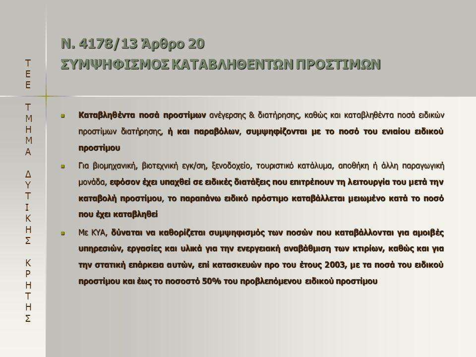 Ν. 4178/13 Άρθρο 20 ΣΥΜΨΗΦΙΣΜΟΣ ΚΑΤΑΒΛΗΘΕΝΤΩΝ ΠΡΟΣΤΙΜΩΝ  Καταβληθέντα ποσά προστίμων ανέγερσης & διατήρησης, καθώς και καταβληθέντα ποσά ειδικών προσ