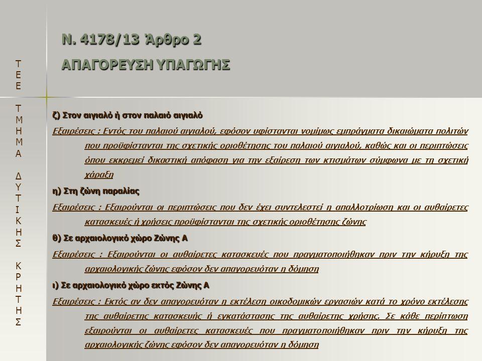 Ν. 4178/13 Άρθρο 2 ΑΠΑΓΟΡΕΥΣΗ ΥΠΑΓΩΓΗΣ ζ) Στον αιγιαλό ή στον παλαιό αιγιαλό Εξαιρέσεις : Εντός του παλαιού αιγιαλού, εφόσον υφίστανται νομίμως εμπράγ