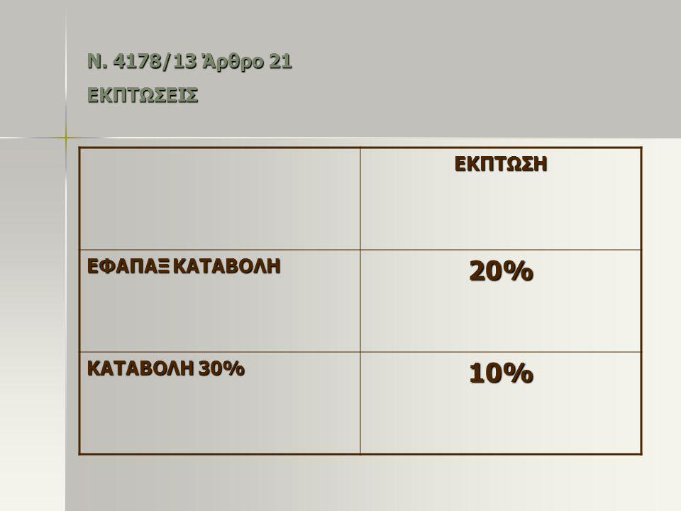 Ν. 4178/13 Άρθρο 21 ΕΚΠΤΩΣΕΙΣ ΕΚΠΤΩΣΗ ΕΦΑΠΑΞ ΚΑΤΑΒΟΛΗ 20% ΚΑΤΑΒΟΛΗ 30% 10%