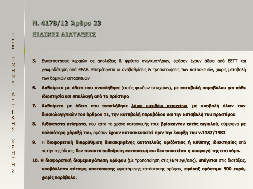 Ν. 4178/13 Άρθρο 23 ΕΙΔΙΚΕΣ ΔΙΑΤΑΞΕΙΣ 5.Εγκαταστάσεις κεραιών σε απολήξεις & φρέατα ανελκυστήρων, εφόσον έχουν άδεια από ΕΕΤΤ και γνωμοδότηση από ΕΕΑΕ