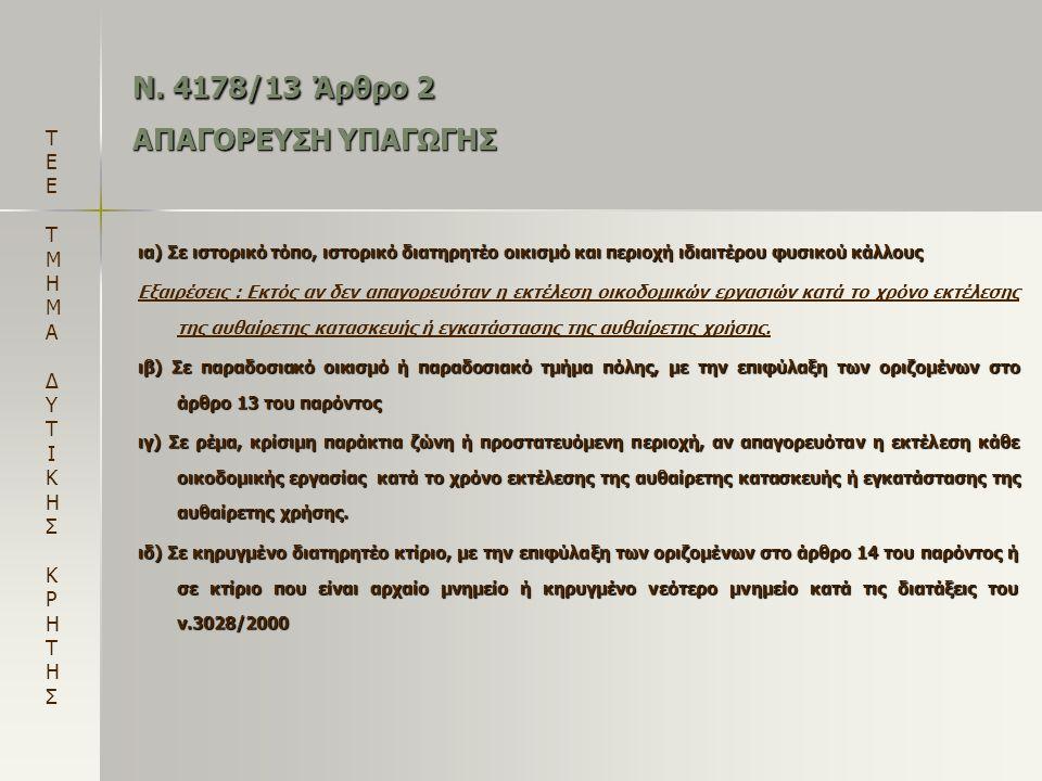 Ν. 4178/13 Άρθρο 2 ΑΠΑΓΟΡΕΥΣΗ ΥΠΑΓΩΓΗΣ ια) Σε ιστορικό τόπο, ιστορικό διατηρητέο οικισμό και περιοχή ιδιαιτέρου φυσικού κάλλους Εξαιρέσεις : Εκτός αν