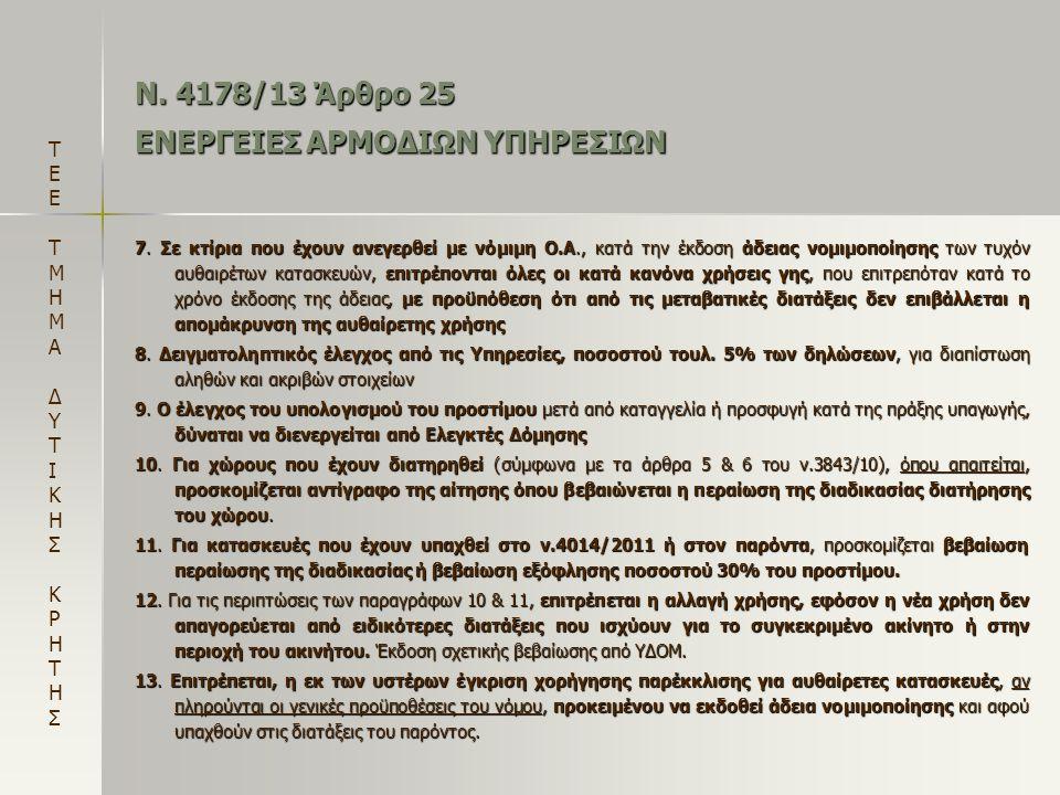 Ν. 4178/13 Άρθρο 25 ΕΝΕΡΓΕΙΕΣ ΑΡΜΟΔΙΩΝ ΥΠΗΡΕΣΙΩΝ 7. Σε κτίρια που έχουν ανεγερθεί με νόμιμη Ο.Α., κατά την έκδοση άδειας νομιμοποίησης των τυχόν αυθαι
