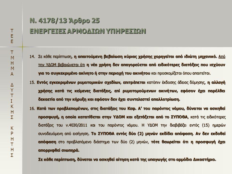 Ν. 4178/13 Άρθρο 25 ΕΝΕΡΓΕΙΕΣ ΑΡΜΟΔΙΩΝ ΥΠΗΡΕΣΙΩΝ 14.Σε κάθε περίπτωση, η απαιτούμενη βεβαίωση κύριας χρήσης χορηγείται από ιδιώτη μηχανικό. Από την ΥΔ