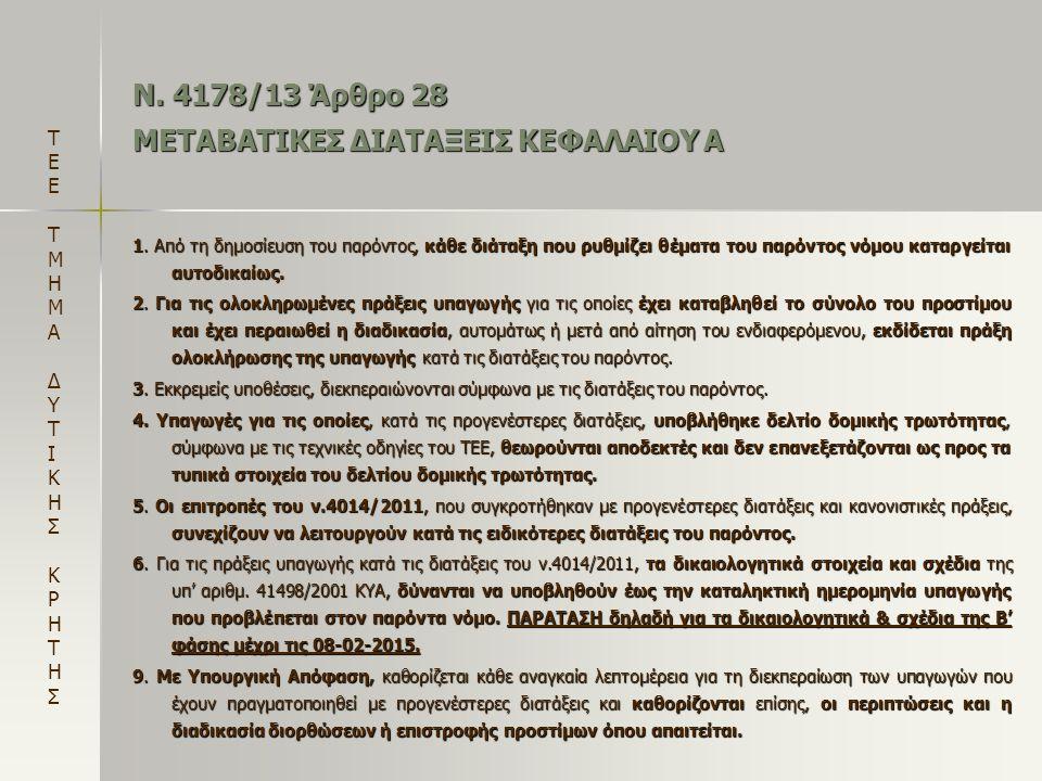 Ν. 4178/13 Άρθρο 28 ΜΕΤΑΒΑΤΙΚΕΣ ΔΙΑΤΑΞΕΙΣ ΚΕΦΑΛΑΙΟΥ Α 1. Από τη δημοσίευση του παρόντος, κάθε διάταξη που ρυθμίζει θέματα του παρόντος νόμου καταργείτ