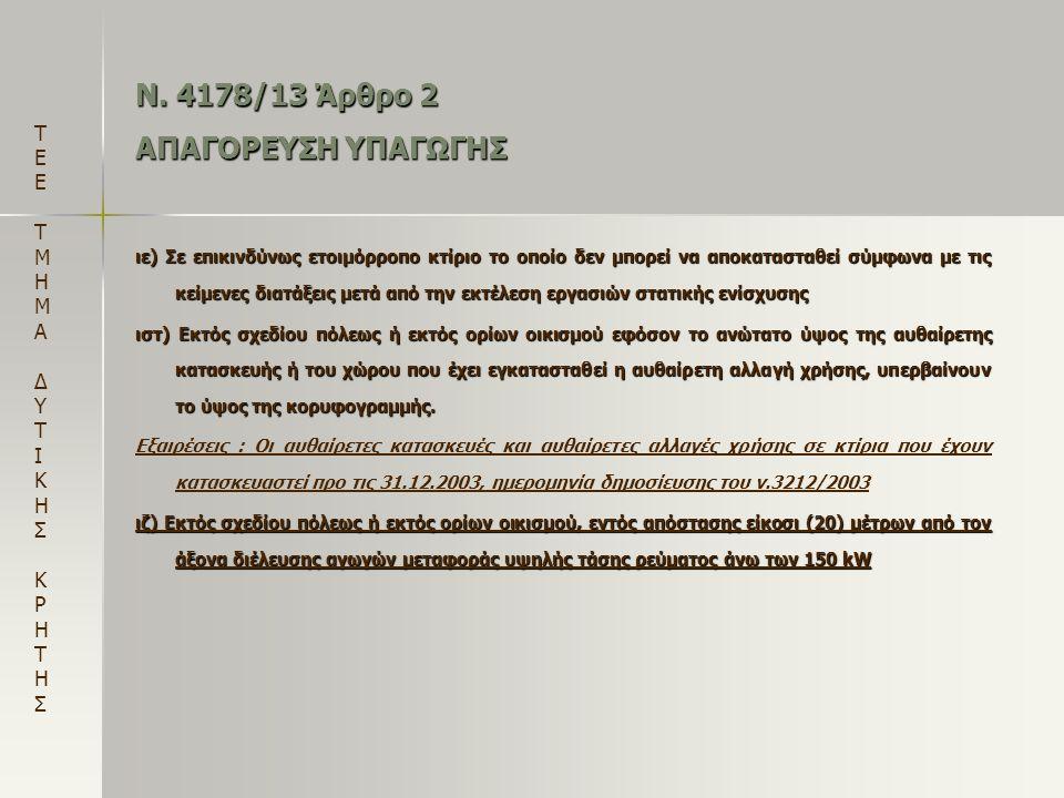 Ν. 4178/13 Άρθρο 2 ΑΠΑΓΟΡΕΥΣΗ ΥΠΑΓΩΓΗΣ ιε) Σε επικινδύνως ετοιμόρροπο κτίριο το οποίο δεν μπορεί να αποκατασταθεί σύμφωνα με τις κείμενες διατάξεις με