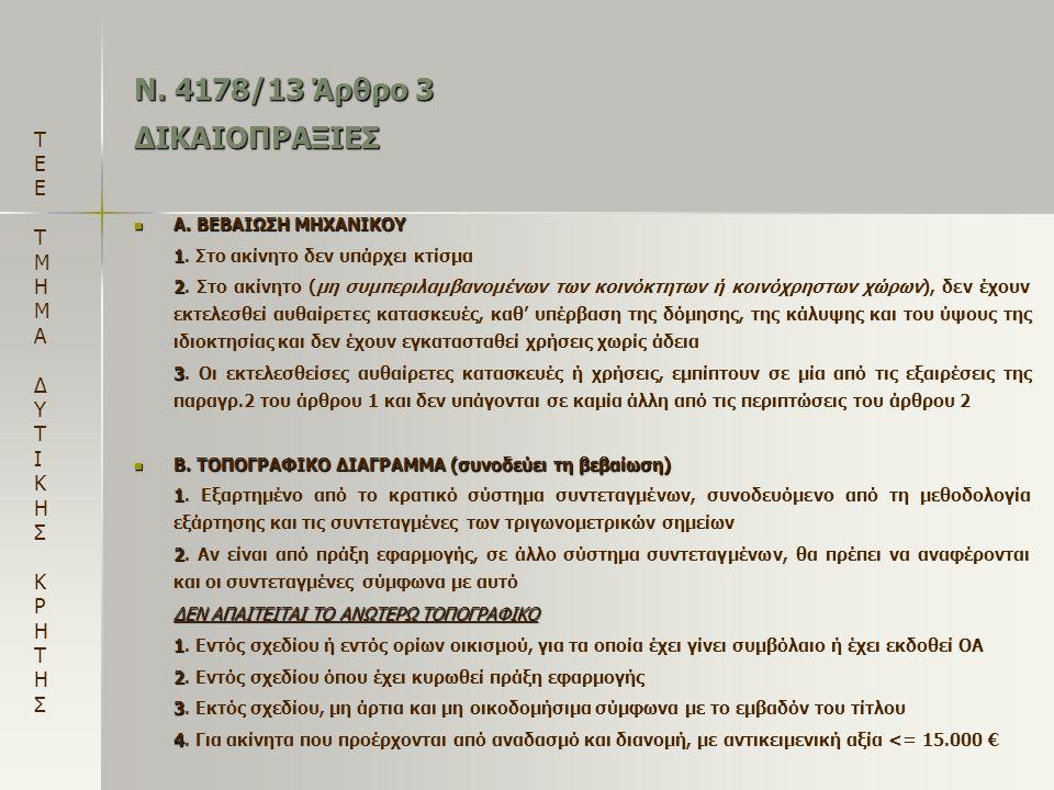 Ν. 4178/13 Άρθρο 3 ΔΙΚΑΙΟΠΡΑΞΙΕΣ  Α. ΒΕΒΑΙΩΣΗ ΜΗΧΑΝΙΚΟΥ 1 1. Στο ακίνητο δεν υπάρχει κτίσμα 2 2. Στο ακίνητο (μη συμπεριλαμβανομένων των κοινόκτητων