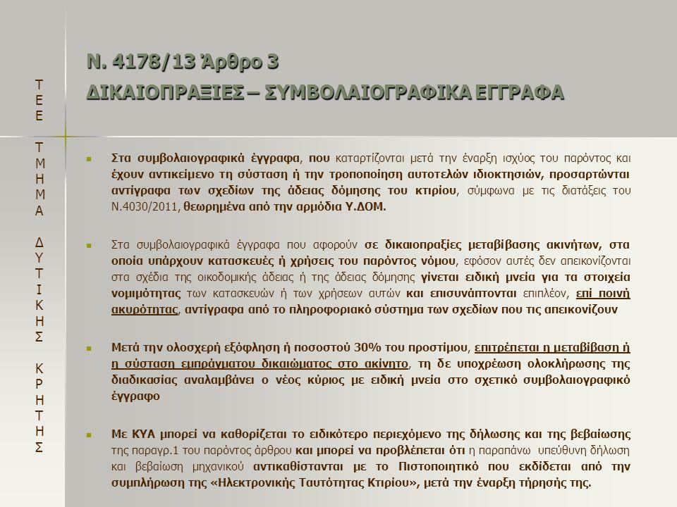 Ν. 4178/13 Άρθρο 3 ΔΙΚΑΙΟΠΡΑΞΙΕΣ – ΣΥΜΒΟΛΑΙΟΓΡΑΦΙΚΑ ΕΓΓΡΑΦΑ   Στα συμβολαιογραφικά έγγραφα, που καταρτίζονται μετά την έναρξη ισχύος του παρόντος κα