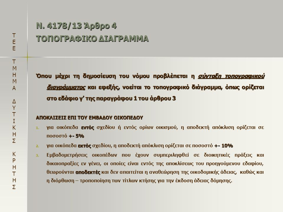 Ν. 4178/13 Άρθρο 4 ΤΟΠΟΓΡΑΦΙΚΟ ΔΙΑΓΡΑΜΜΑ Όπου μέχρι τη δημοσίευση του νόμου προβλέπεται η σύνταξη τοπογραφικού διαγράμματος και εφεξής, νοείται το τοπ
