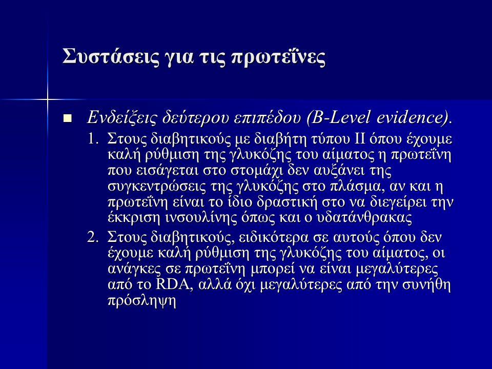 Συστάσεις για τις πρωτεΐνες  Ενδείξεις δεύτερου επιπέδου (B-Level evidence). 1.Στους διαβητικούς με διαβήτη τύπου ΙΙ όπου έχουμε καλή ρύθμιση της γλυ