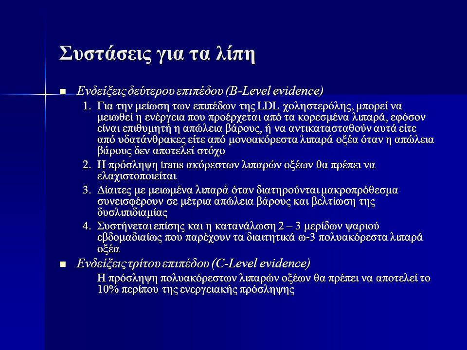 Συστάσεις για τα λίπη  Ενδείξεις δεύτερου επιπέδου (B-Level evidence) 1.Για την μείωση των επιπέδων της LDL χοληστερόλης, μπορεί να μειωθεί η ενέργει