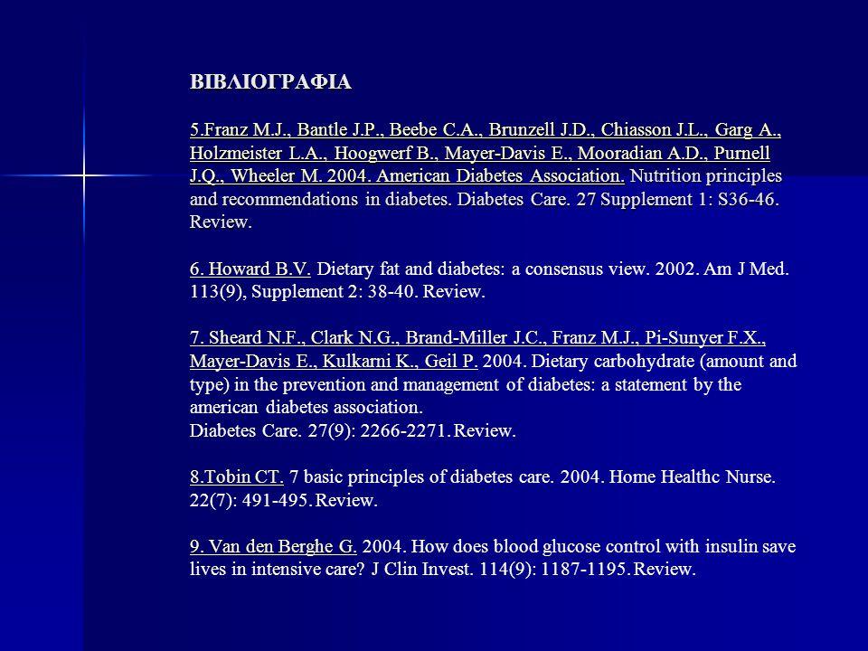 ΒΙΒΛΙΟΓΡΑΦΙΑ 5.Franz M.J., Bantle J.P., Beebe C.A., Brunzell J.D., Chiasson J.L., Garg A., Holzmeister L.A., Hoogwerf B., Mayer-Davis E., Mooradian A.