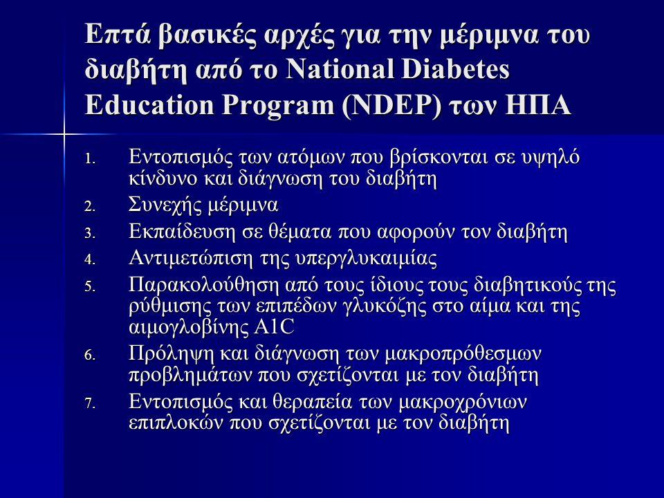 Επτά βασικές αρχές για την μέριμνα του διαβήτη από το National Diabetes Education Program (NDEP) των ΗΠΑ 1. Εντοπισμός των ατόμων που βρίσκονται σε υψ