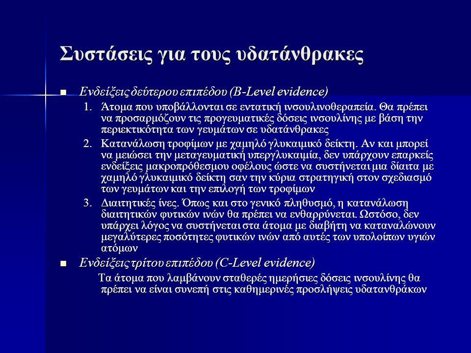 Συστάσεις για τους υδατάνθρακες  Ενδείξεις δεύτερου επιπέδου (B-Level evidence) 1.Άτομα που υποβάλλονται σε εντατική ινσουλινοθεραπεία. Θα πρέπει να